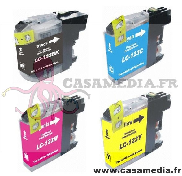 LC123VALBP - LC123bk LC123c LC123m LC123y – Lot de 4 Cartouches compatibles Brother