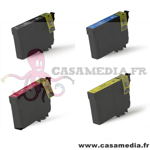 T1811 T1812 T1813 T1814 - T1816 - Lot de 4 Cartouches compatibles Epson